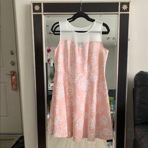 A pink sweetheart, mesh neckline, A-line dress